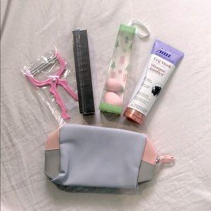 NEW Makeup bag, sponges, brush, hair remover bundl